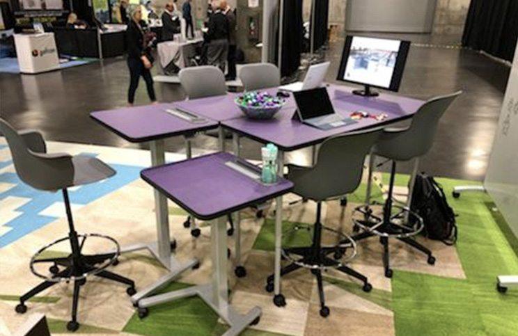 Haskell - Purple Sit to Stand Desks