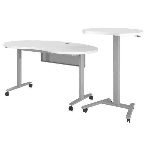 Haskell Fuzion Kidney Shaped Desk with 3/4 Moon Podium