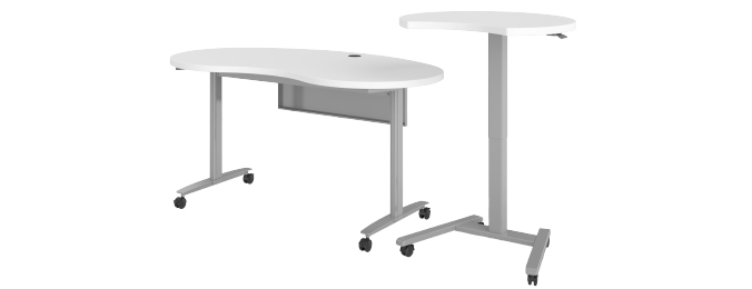 Haskell Fuzion Kidney Shaped Table with 3/4 Moon Podium Extended