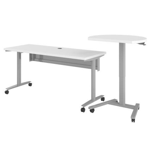 Haskell Fuzion Rectangular Teachers Desk with D-Shaped Podium