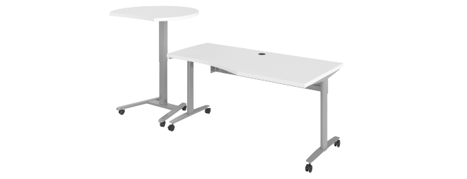 Haskell Fuzion Wave Desk with Podium Extended