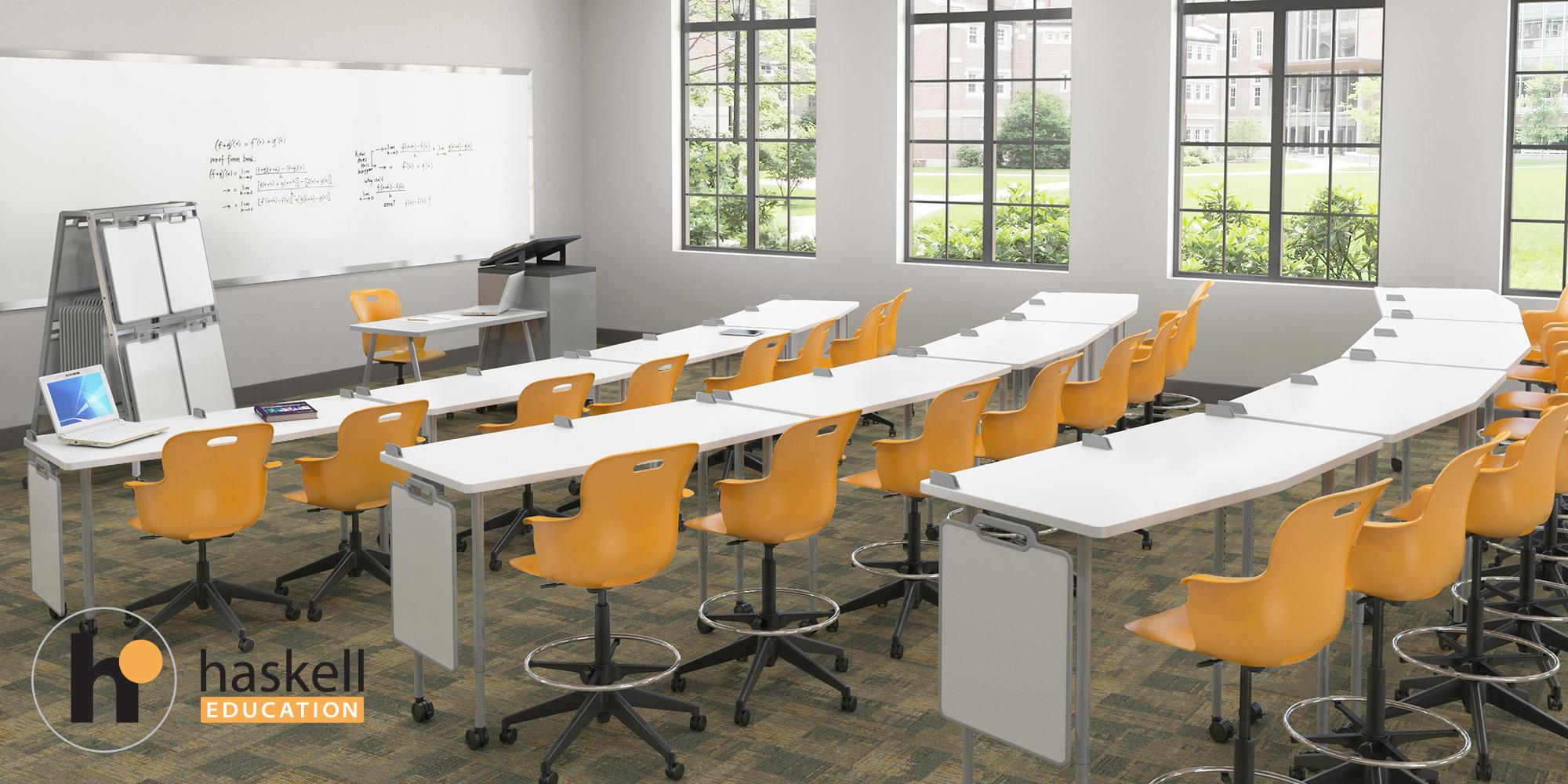 Stadium Seating Classroom FIVE STAR AngleShot w Carpet