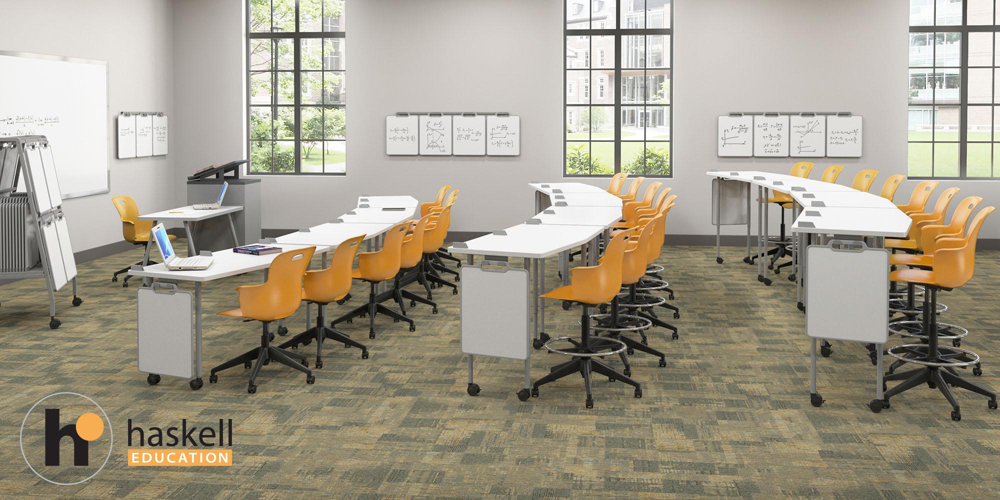 Stadium Seating Classroom FIVE STAR SideShot w Carpet_WhiteboardWritingEdit