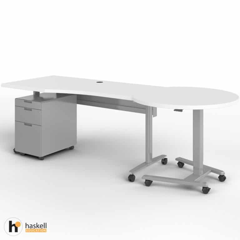 Fuzion Wave Table and Sit to Stand Right with Mobile Pedestal In