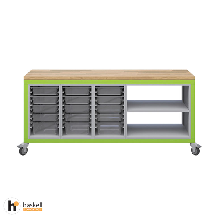 Cargo Cart with Butcher Block Top, 3 Bin Storage Modules, 1 Double Storage Module without Doors & Locking Casters