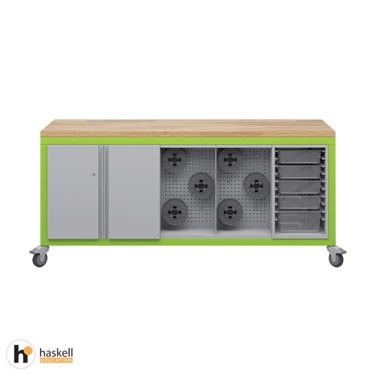 Cargo Cart with Butcher Block Top, 1 Double Storage Modules with Doors, 2 Peg Board Storage Modules, 1 Bin Storage Module & Locking Casters