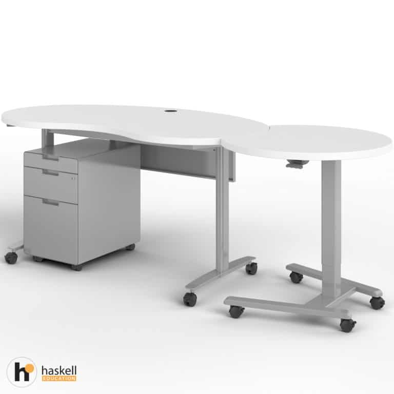 Fuzion Kidney Table with Companion and Mobile Pedestal In