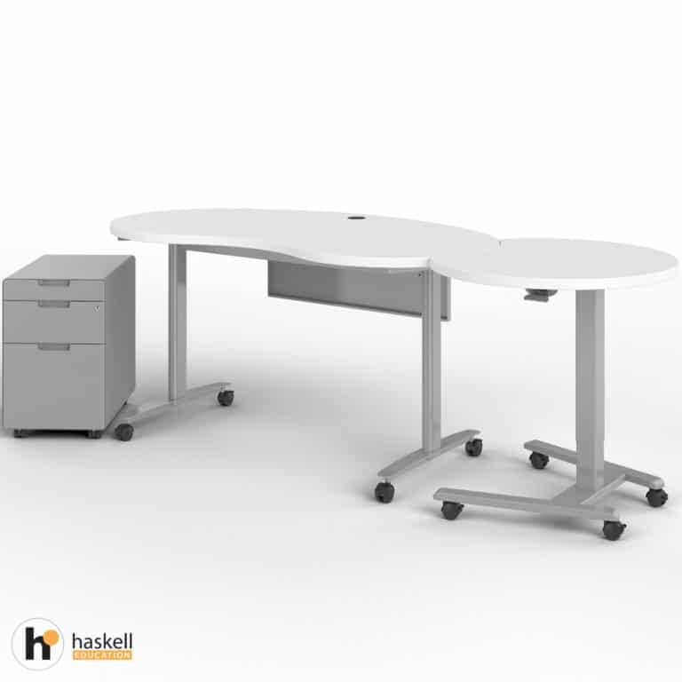 Fuzion Kidney Table with Companion and Mobile Pedestal Out
