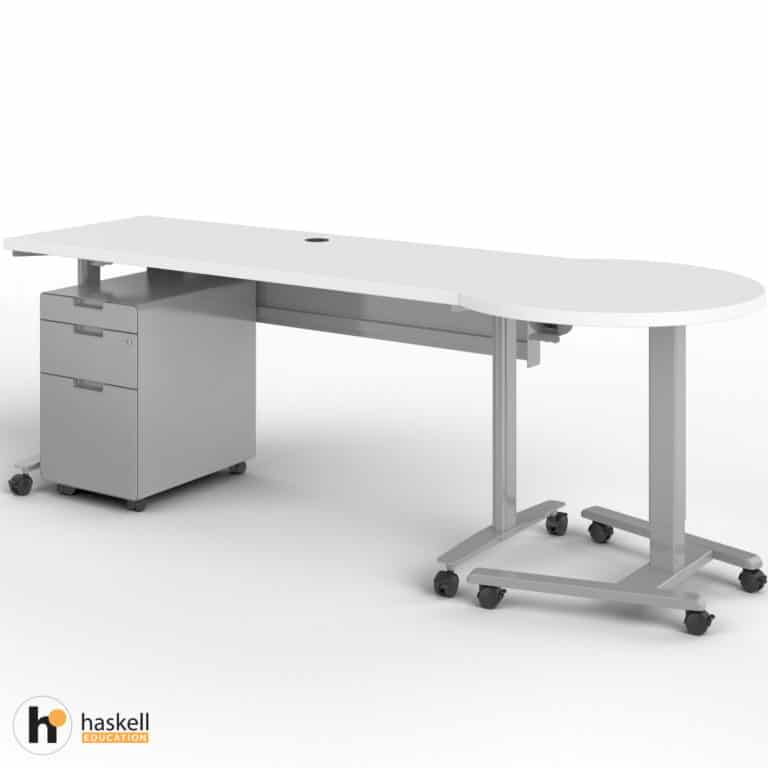 Fuzion Rectangle Table (24″ x 60″) with Companion and Mobile Pedestal In