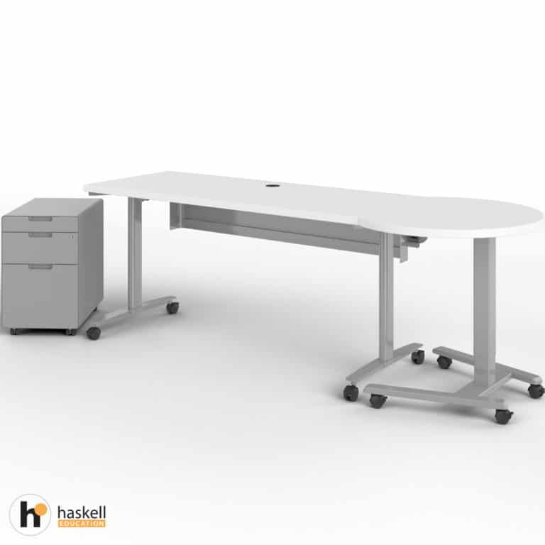 Fuzion Rectangle Table (24″ x 60″) with Companion and Mobile Pedestal Out
