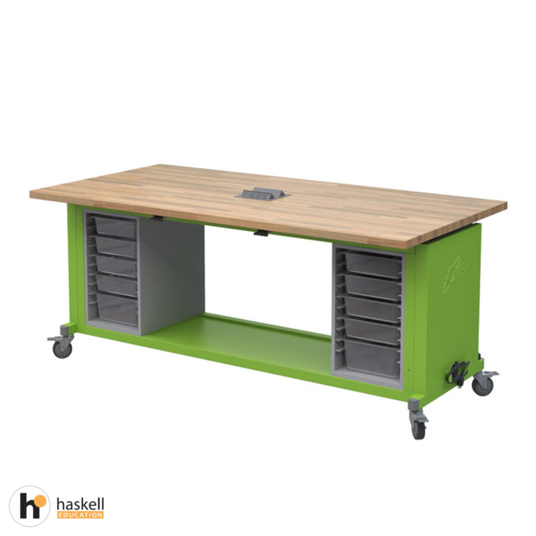 Rover Table with Butcher Block Retractable Top, Bin Storage Modules with Bins, Power Unit and Locking Casters