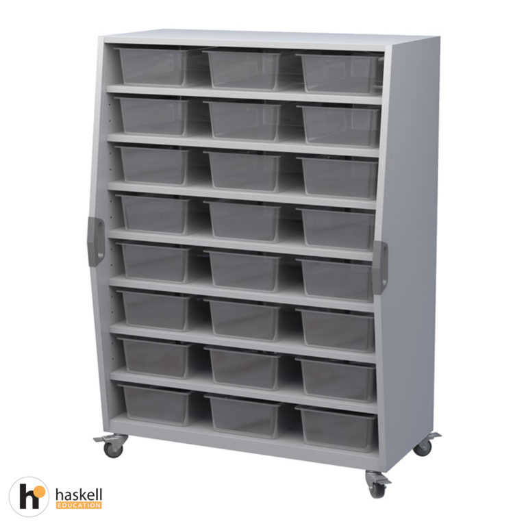 Tall Storage Cart with Bins, Magnetic White Board Backing & Locking Casters