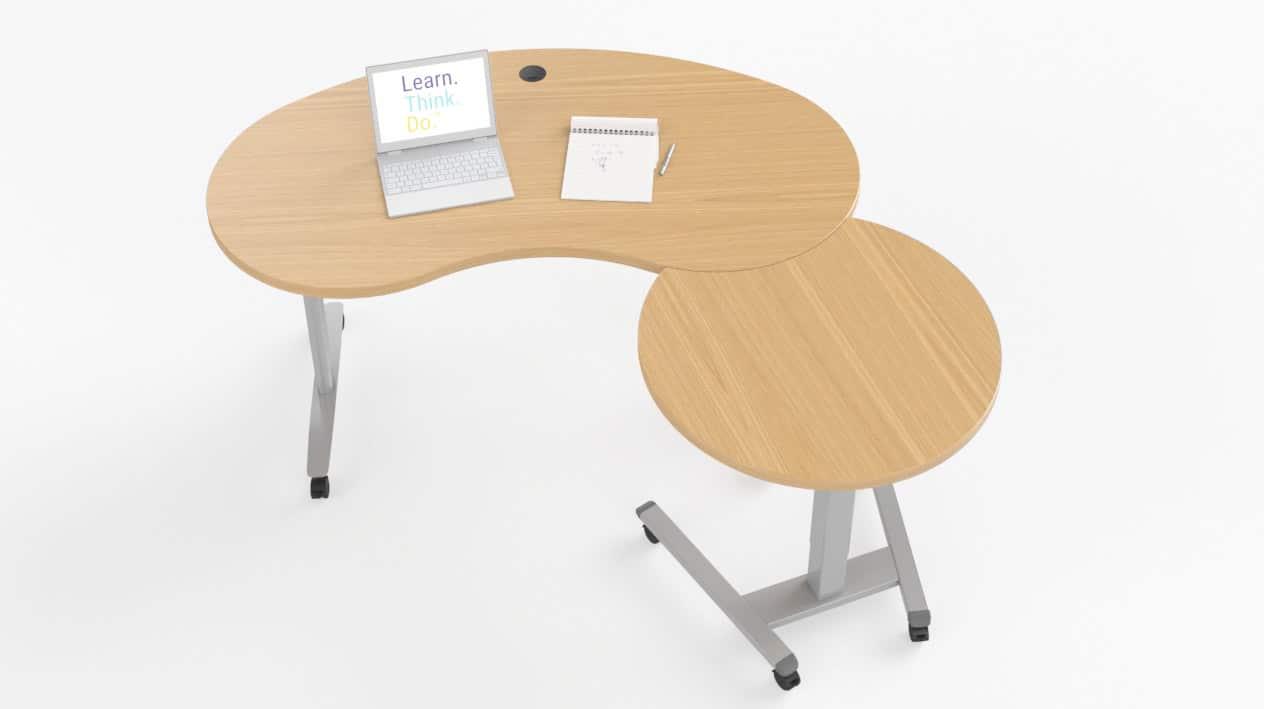 Fuzion Kidney Shaped Teachers Desk with 3/4 Moon Podium – Windows
