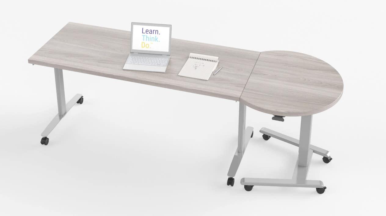 Fuzion Rectangular Teachers Desk with D-Shaped Podium – Windows