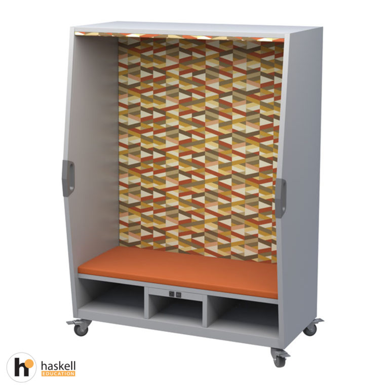 Think Nook with Upholstered Seating, Back & Ceiling, Cubby Storage, Power Unit, Magnetic White Board Backing & Locking Casters – FanFare