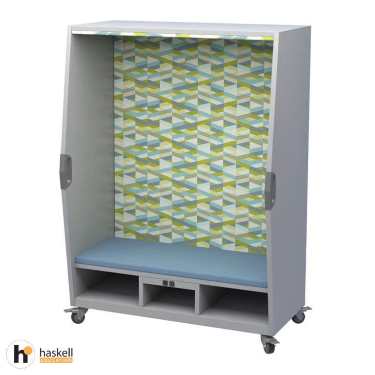 Think Nook with Upholstered Seating, Back & Ceiling, Cubby Storage, Power Unit, Magnetic White Board Backing & Locking Casters – Fresco