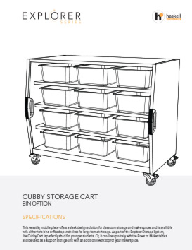 Cubby Storage Cart Bins Spec Sheet