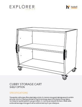 Cubby Storage Cart Shelves Spec Sheet