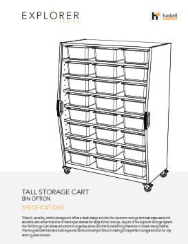 Tall Storage Cart Bins Spec Sheet