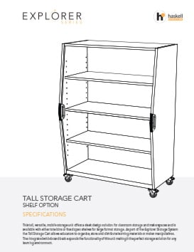Tall Storage Cart Shelves Spec Sheet