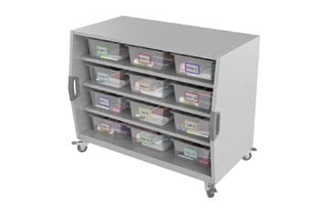 Cubby Storage Cart with Labeled Bins Animation – Mac