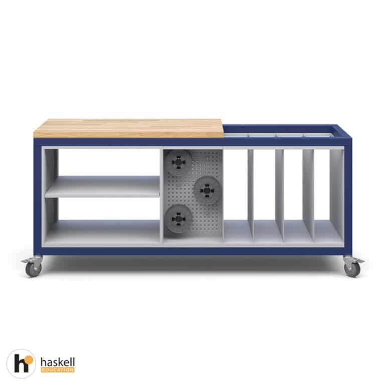Cargo Cart with Partial Butcher Block Top, 1 Double Storage Module without Doors, 1 Peg Board Storage Module, 1 Large Format Storage Module & Locking Casters
