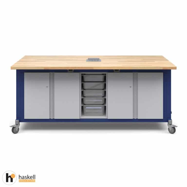 Rover Table with Butcher Block Retractable Top, 2 Double Storage Modules with Doors, Bin Storage Module, Power Unit and Locking Casters