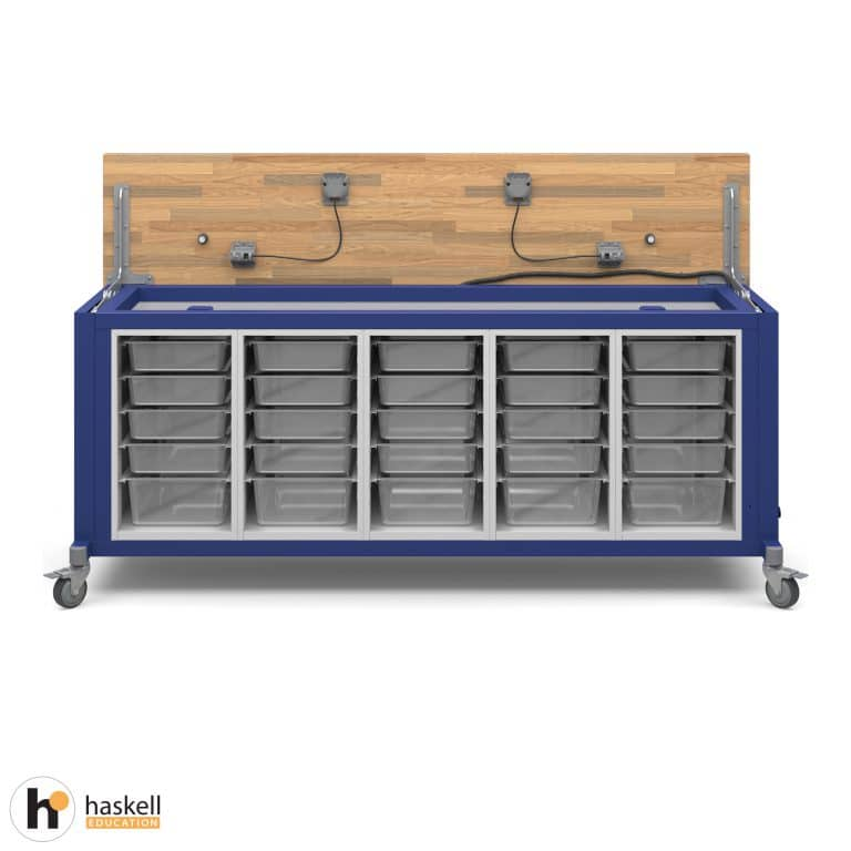 Rover Table Opened with Butcher Block Retractable Top, 5 Bin Storage Modules, Power Unit and Locking Casters