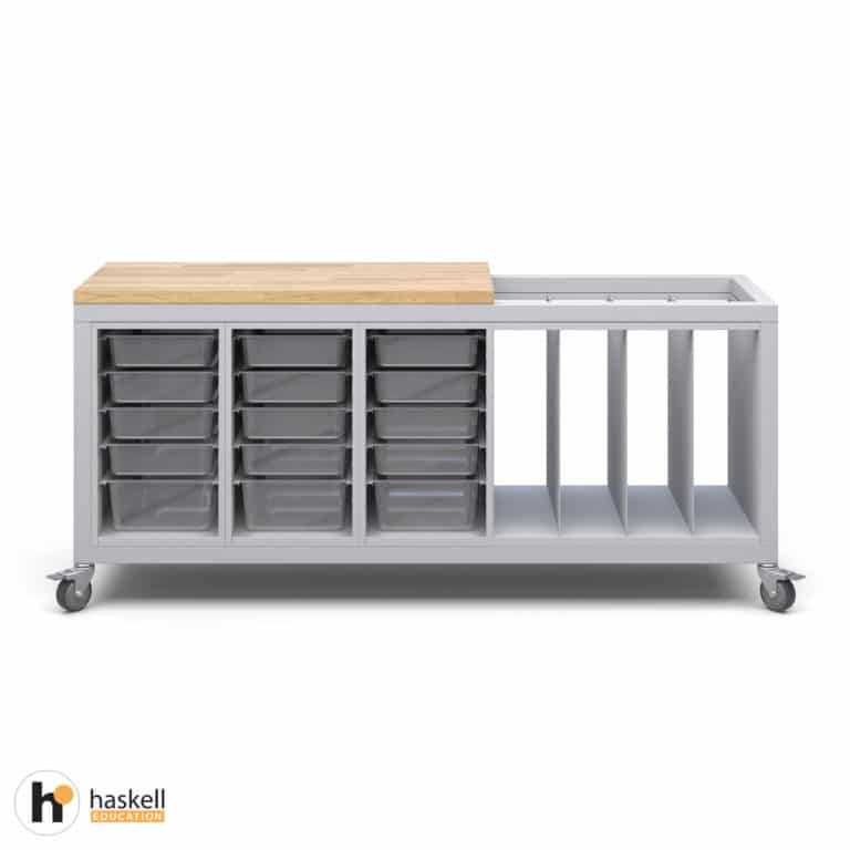 Cargo Cart with Partial Butcher Block Top, 3 Bin Storage Modules, 1 Large Format Storage Module & Locking Casters