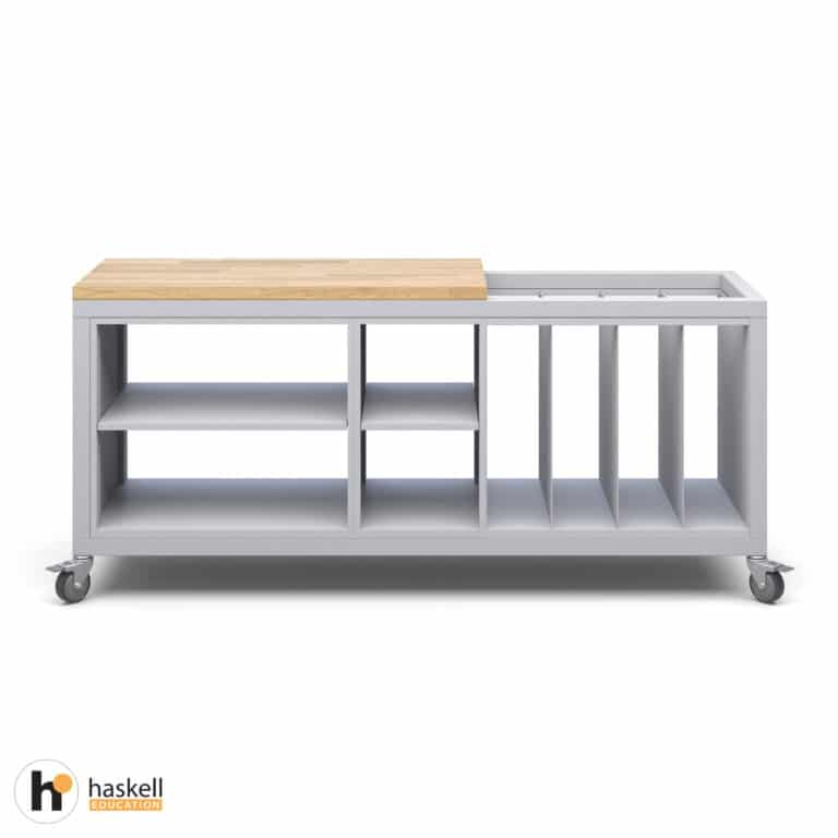 Cargo Cart with Partial Butcher Block Top, 1 Double and 1 Single Storage Modules without Doors, 1 Large Format Storage Module & Locking Casters