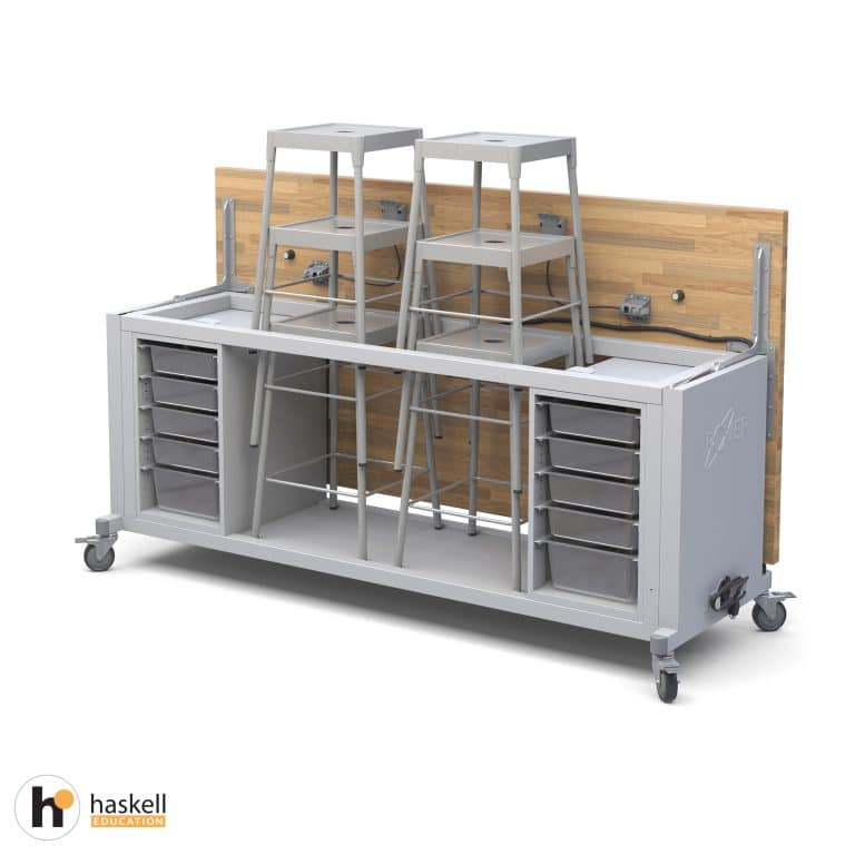 Rover Table Opened with Butcher Block Retractable Top, 2 Bin Storage Modules with Bins, 6 Stools, Power Unit & Locking Casters