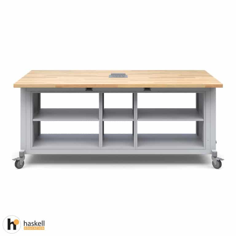 Rover Table with Butcher Block Retractable Top, 2 Double Storage Modules without Doors, Single Storage Module without Door, Power Unit and Locking Casters