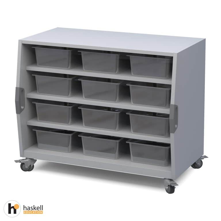 Cubby Storage Cart with Bins, Magnetic White Board Backing & Locking Casters