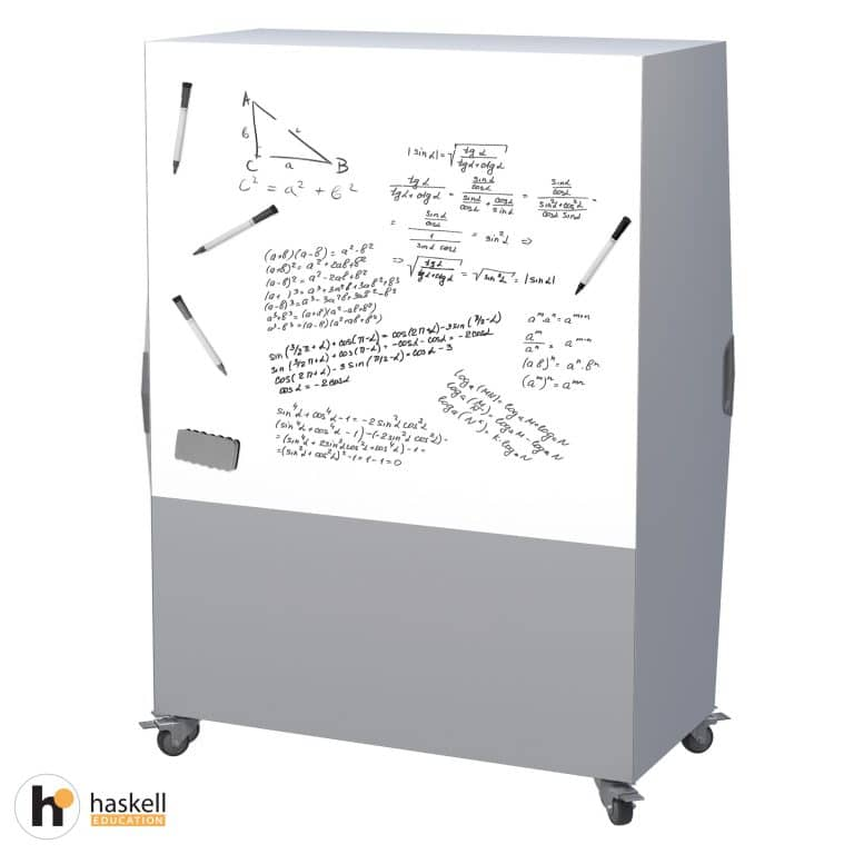 Tall Storage Cart Magnetic White Board Backing & Locking Casters