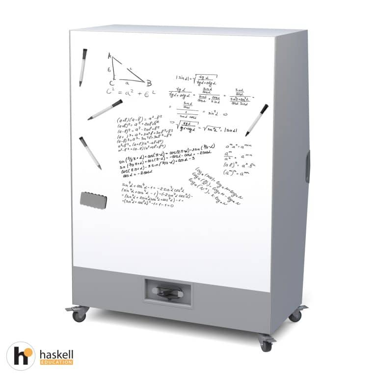 Think Nook with Upholstered Seating, Back & Ceiling, Cubby Storage, Power Unit, Magnetic White Board Backing & Locking Casters
